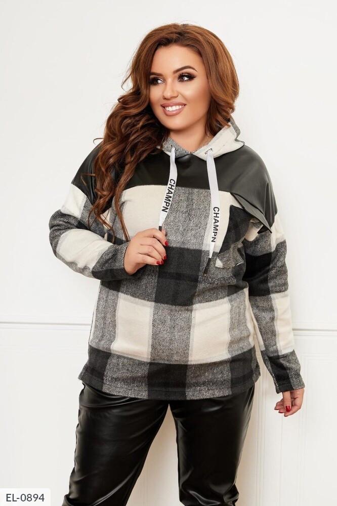 Тепла модна жіноча сорочка в клітку твідовий з капюшоном великих розмірів батал 50-60 арт. 1215