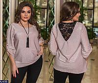Нарядная блуза женская вечерняя красивая из люрекса и гипюра больших размеров батал 48-58 арт.   1067, фото 1