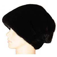"""Норковая шапка-косынка """"Стелла Веер"""" цвет чёрный"""