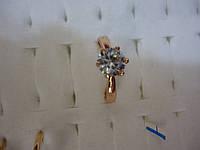 Кольцо из медицинского сплава с золотым напылением с бриллиантом