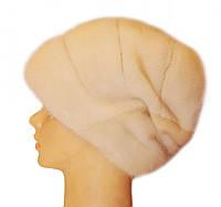 "Норковая шапка-косынка ""Стелла роза"" цвет жемчуг"