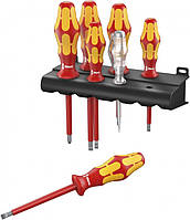 Набор отверток WERA 160 i/7 Rack Kraftform Plus Серия 100 + индикатор напряжения