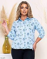 Блуза рубашка женская легкая деловая с рукавом три четверти больших размеров батал р-ры 50-56 арт.  137, фото 1