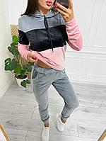 Велюровый женский двухцветный спортивный костюм в расцветках (Норма и батал), фото 3