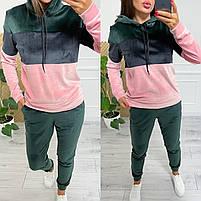 Велюровый женский двухцветный спортивный костюм в расцветках (Норма и батал), фото 6