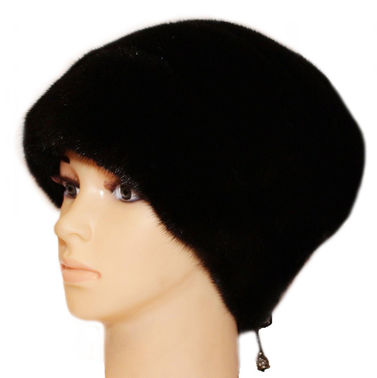 """Норковая шапка-косынка """"Стелла роза"""" цвет чёрный"""