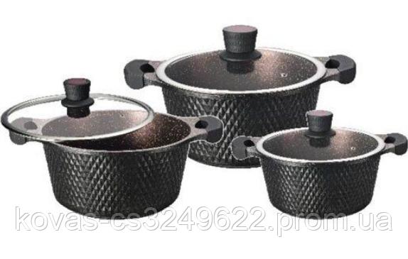 Набор кастрюль с мраморным покрытием Edenberg EB-16001 - 2.4/4.3/6 л