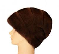 """Норковая шапка-косынка """"Стелла роза"""" цвет орех"""