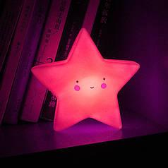 Дитячий світильник-нічник Lesko AJ-1817 Рожева зірка бездротовий на батарейці