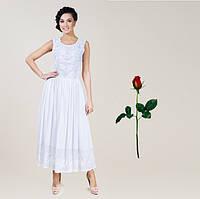Платье в пол Хлопок-шелк-шифон IN 15226  Белый