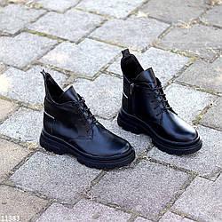 Модельные кожаные черные женские ботинки натуральная кожа на флисе на шнуровке