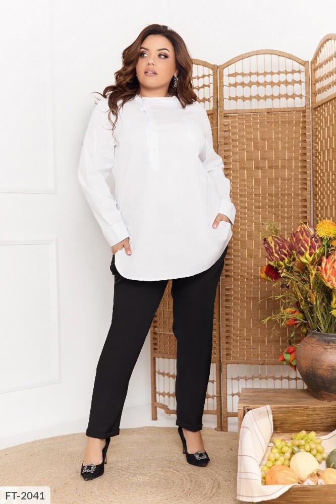 Сорочка сорочка жіноча класична ділова офісна з довгим рукавом великих розмірів бата 50-56 арт. 105