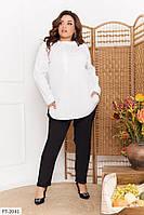 Сорочка сорочка жіноча класична ділова офісна з довгим рукавом великих розмірів бата 50-56 арт. 105, фото 1