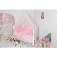 """Набір в дитячу ліжко розмір 60х120 """"Клітинка"""" рожевий"""