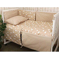 Набір в дитячу ліжко розмір 60х120 (Бежевий) хмаринка