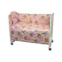 Набір в дитячу ліжко розмір 60х120 (Рожевий) звірятка в кишенях