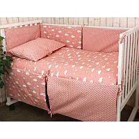 Набір в дитячу ліжко розмір 60х120 (Рожевий) хмаринка