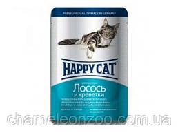 Консерва Happy Cat Кусочки в желе с лососем и креветкой для кошек