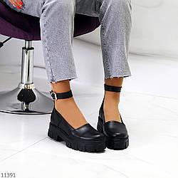 Молодежные кожаные женские туфли натуральная кожа на шлейке на утолщенной подошве