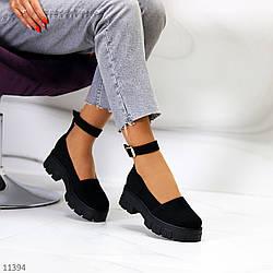 Молодежные замшевые женские туфли натуральная замша на шлейке на утолщенной подошве