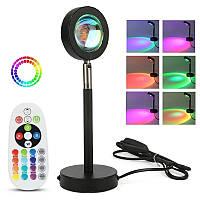 Лампа LED для селфи с эффектом солнца RGB с пультом, Проекционные лампы для дома и фотосессий F-20