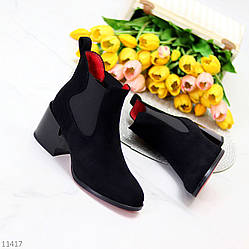 Люксовые замшевые черные ботинки ботильоны челси на удобном каблуке