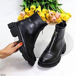 Повседневные кожаные черные женские ботинки натуральная кожа на флисе на молнии