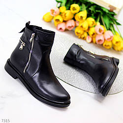 Модельные кожаные черные женские ботинки натуральная кожа на флисе на молнии