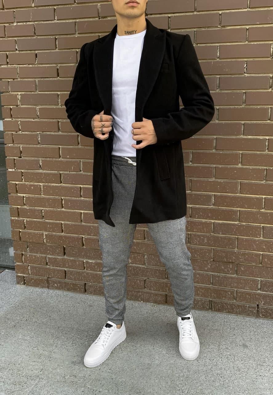 😜 Пальто Чоловіче чорне пальто піджак на осінь\ чоловіче пальто чорне піджак