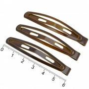 """Заколка для волос """"тик-так"""" (клик-клак) 6 см коричневая, упаковка 12 шт."""