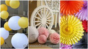 Бумажный декор (подвесные фонарики, помпоны, веера, шары-соты, гирлянды)