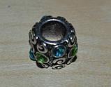 намистина в стилі Пандора з блакитними і зеленими кристалами, фото 2