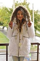 Куртка женская Монклер с мехом на капюшоне P421