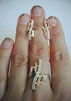 Комплект Александра из серебра 925 пробы с золотыми вставками 375 пробы