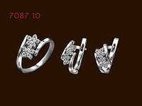 Комплект серебряный с белыми фианитами Жасмин