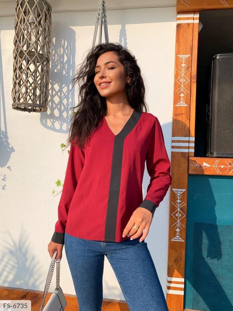 Стильна блуза жіноча з довгим рукавом і контрастною вставкою великих розмірів 50-56 арт.д41324