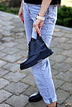 Модельні жіночі шкіряні чорні черевики натуральна шкіра на флісі на шнурівці, фото 2
