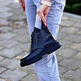 Модельні жіночі шкіряні чорні черевики натуральна шкіра на флісі на шнурівці, фото 3