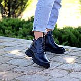 Модельні жіночі шкіряні чорні черевики натуральна шкіра на флісі на шнурівці, фото 4