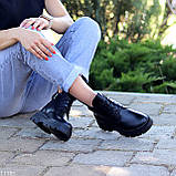 Модельні жіночі шкіряні чорні черевики натуральна шкіра на флісі на шнурівці, фото 5