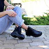 Модельні жіночі шкіряні чорні черевики натуральна шкіра на флісі на шнурівці, фото 7