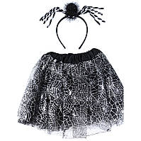 """Карнавальный детский костюм """"Паук"""" черный с серебром  - карнавальный костюм для девочки, фото 1"""