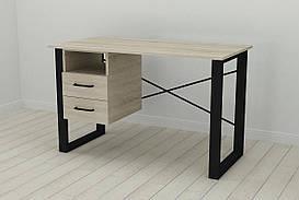 Письмовий стіл з ящиками Ferrum-decor Оскар 750x1200x700 метал Чорний ДСП Сонома 16 мм (OSK0046)