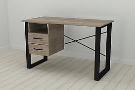 Письмовий стіл з ящиками Ferrum-decor Оскар 750x1200x700 метал Чорний ДСП Сонома Трюфель 16 мм (OSK0047)