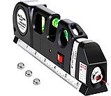Лазерный уровень нивелир мини для домашнего ремонта со встроенной рулеткой 2,5 метра Laser Level PRO 3 (2589), фото 2