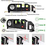 Лазерный уровень нивелир мини для домашнего ремонта со встроенной рулеткой 2,5 метра Laser Level PRO 3 (2589), фото 3