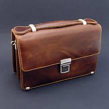 Чоловіча коричнева шкіряна барсетка Desisan маленька сумочка з натуральної шкіри з ручкою