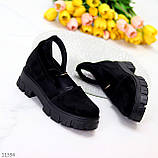 Туфлі жіночі чорні з ремінцем натуральна замша, фото 2