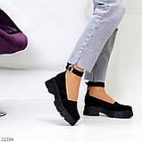 Туфлі жіночі чорні з ремінцем натуральна замша, фото 3