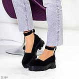 Туфлі жіночі чорні з ремінцем натуральна замша, фото 4
